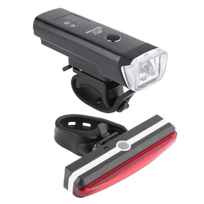 Wasserdichte USB-Lade Nacht Radfahren 3 watt T6 LED Scheinwerfer mit Rücklicht Mountainbike Reiten Radfahren Warnung Licht