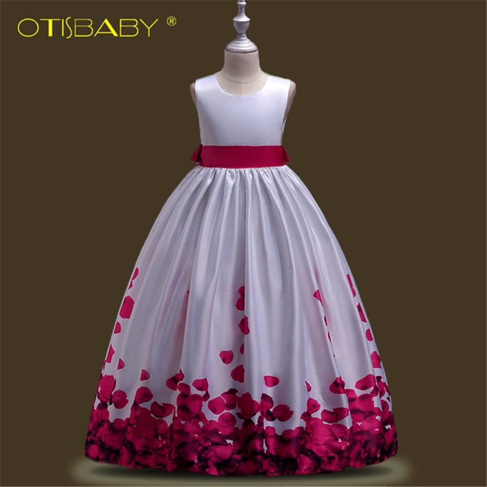 Kids Petal Prints Elegant Dresses for Girls Fashion Children Teenagers Ceremony Pageant Dresses for Girls 10 11 12 13 14 Years