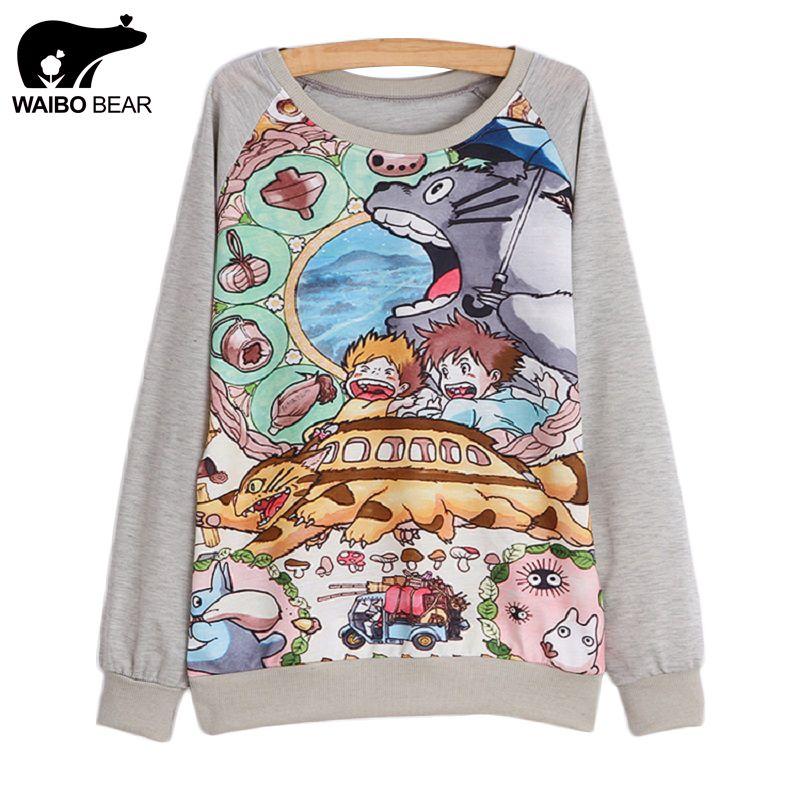 Nueva primavera 2016 mujeres con capucha de manga Larga de impresión totoro hoodie sudadera con capucha camiseta ocasional Femenina 21 modelo