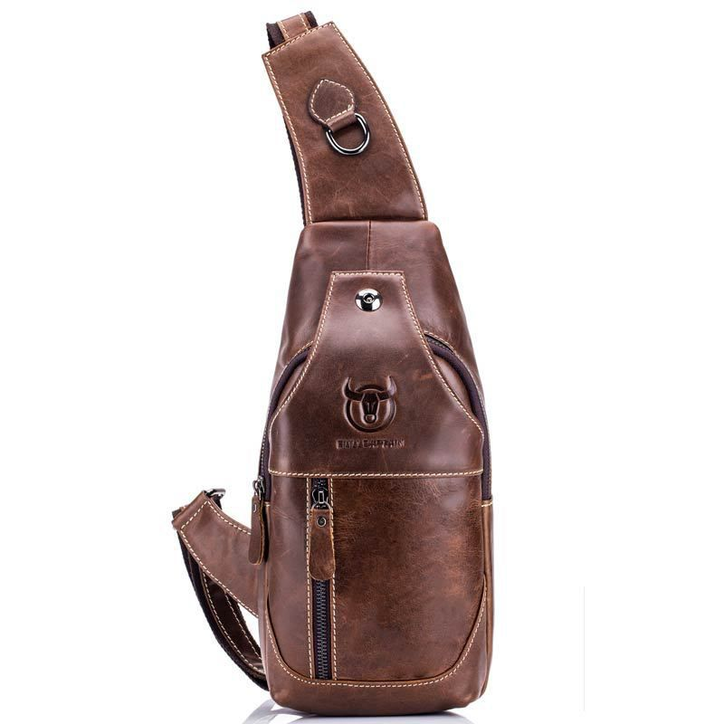 Men's Chest Bag Genuine Leather Single Messenger Bags Leather Travel Crossbody Casual Vintage Chest Rucksack Chest Shoulder Bags