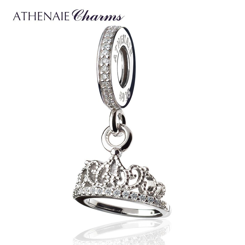 Athenaie Серебро 925 с проложить Ясно CZ сердца тиара кулон капли Fit Все европейские Браслеты Цепочки и ожерелья
