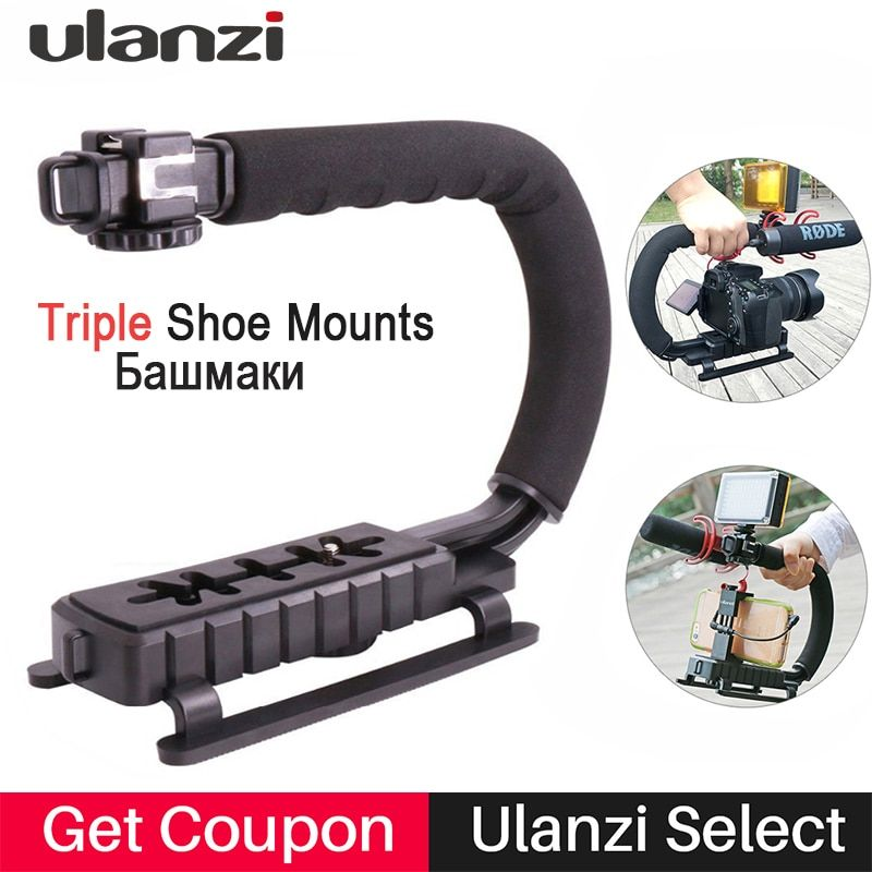 U-<font><b>Grip</b></font> Handheld Smartphone Video Rig Triple Cold Shoe Steadicam Stabilizer for Nikon Canon Sony A7 A9 DSLR Videomakers Vlog