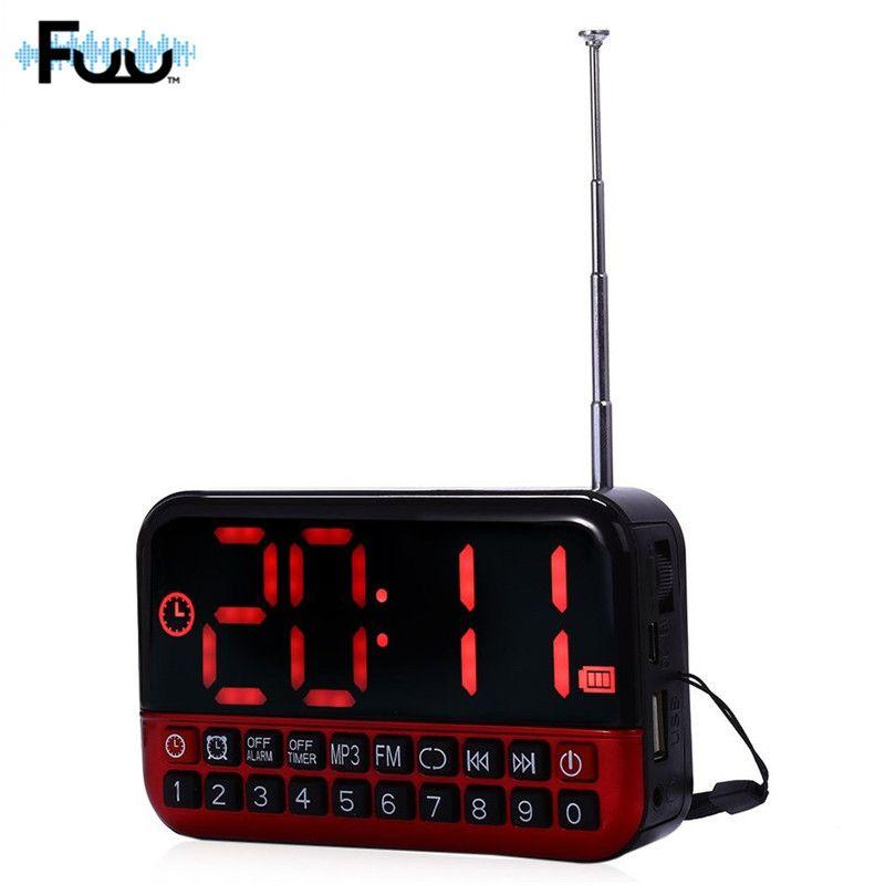 FUU L80 FM Radio Lecteur de Musique Stéréo TF Carte Cadencé USB Port avec LED Affichage AM/FM Mini Portable Musique horloge radio usb lecteur