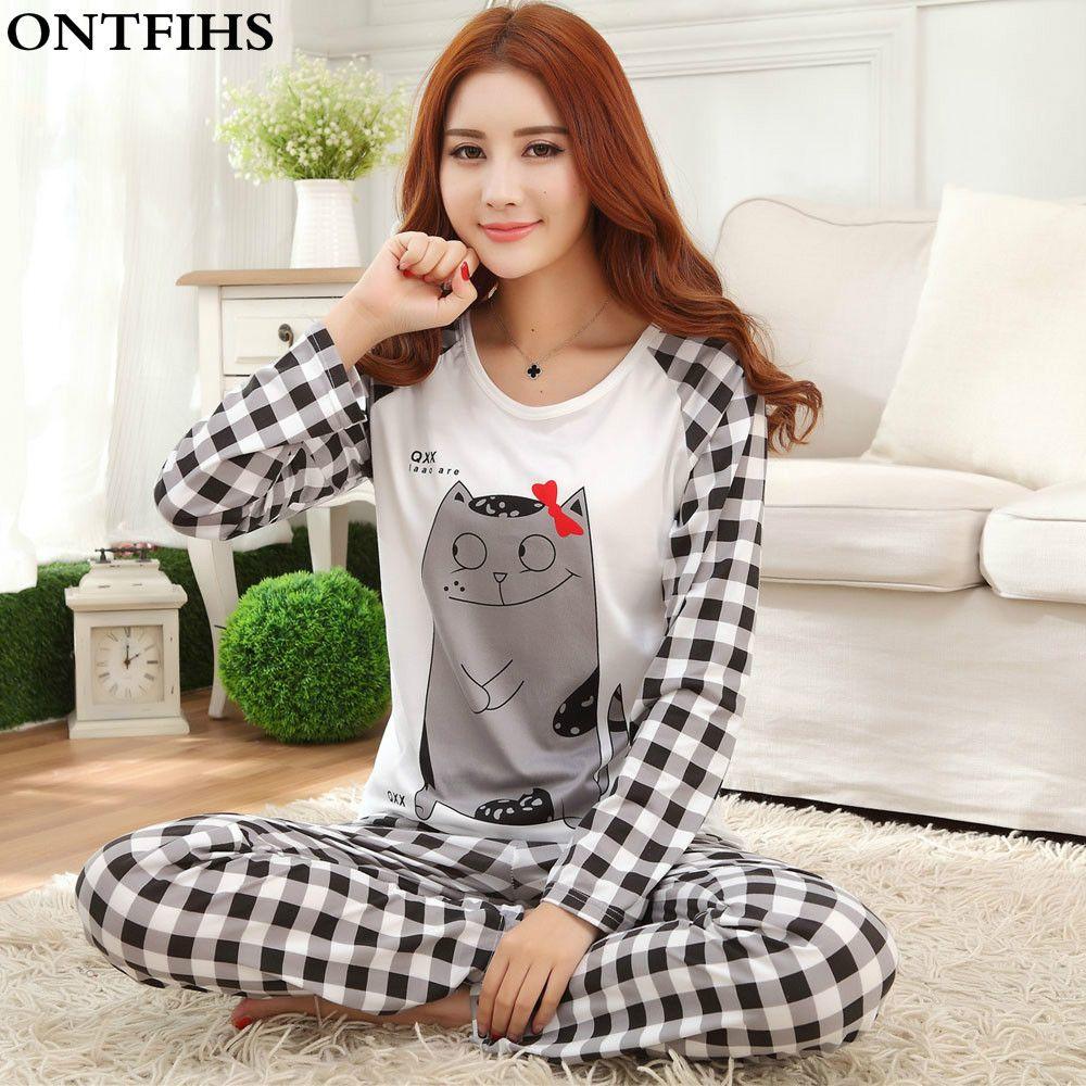 Женские тонкие Пижамы для девочек пижама с длинными рукавами полиэстер Пижама роковой мультфильм Ночная Пижама топы, штаны M, L, XL P5