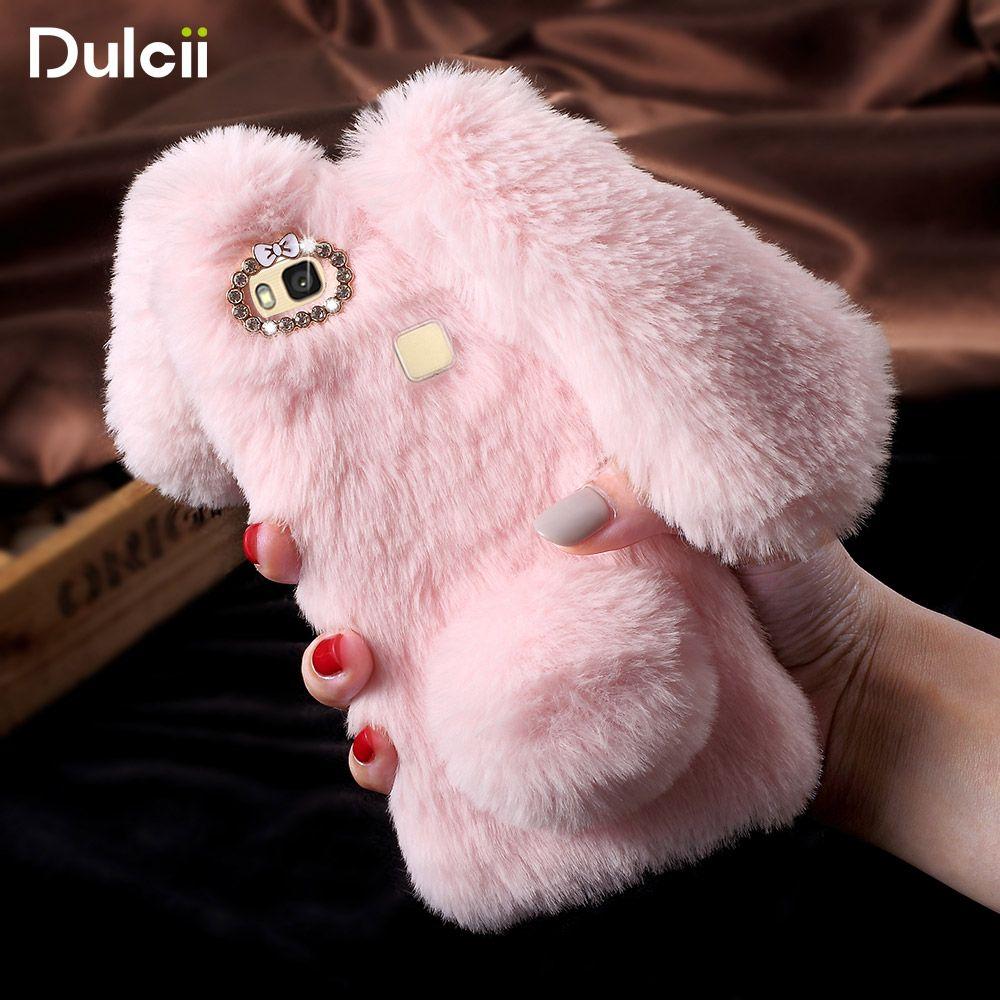 DULCII For Huawei P9 Lite Case for Huawei P9 Lite G9 Lite Funda Lovely Rabbit Fluffy Warm Fur TPU Phone Shell Smartphone Cover