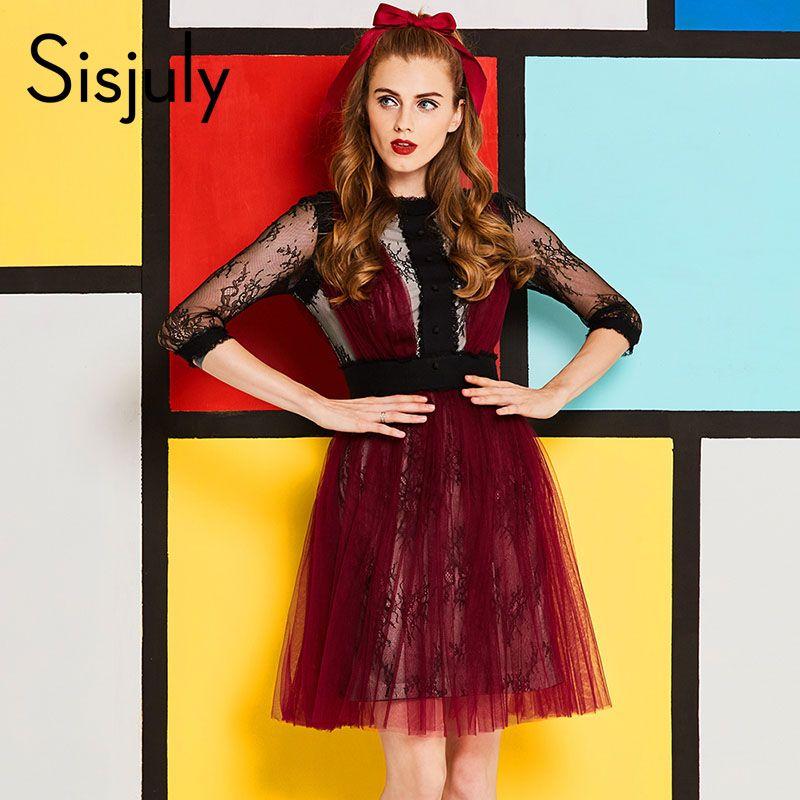 Sisjuly mujeres vestido primavera encaje de malla a-line vestido de fiesta de otoño cuello redondo de noche Club patchwork backless vestido