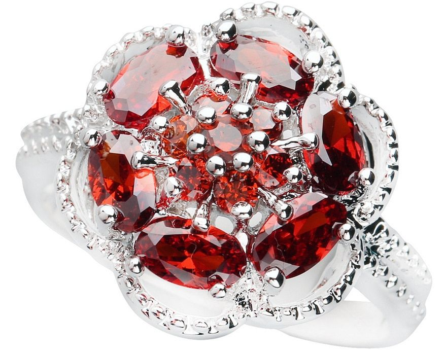 Flor Granate Rojo 3*5mm Piedra semipreciosa de Plata fresco para las mujeres Anillo Q1033