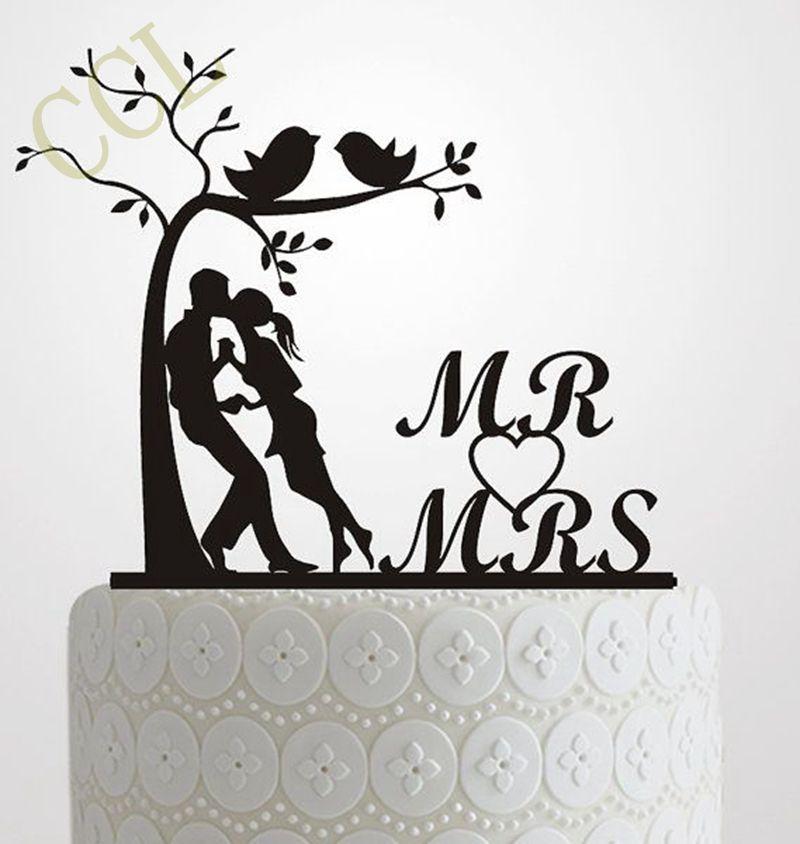 Gâteau de mariage Topper Silhouette Mariée et le Marié, élégant et romantique MR & MME Avec Arbre et oiseaux Gâteau Topper de mariage idée