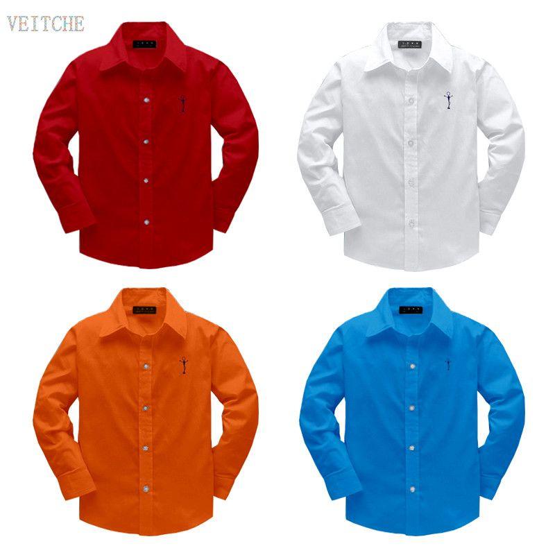 Vente chaude Nouvelle Arrivée 2017 Enfants de Vêtements Garçons Chemises 100% Coton Solide Enfants À Manches Longues Chemises 100-160 cm
