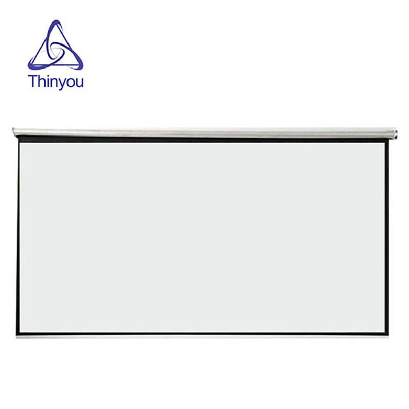 Thinyou 100 inches 16:9 White Fabric Portable Floor Screen Floor Standing Projection Screen Pull Up Projector Screen