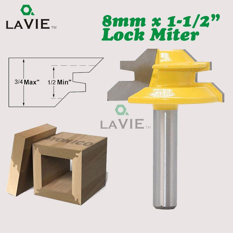 LA VIE 1PC 8mm Shank 45 Degree Small Lock Miter Router Bit Mortise Tenon Knife 3/4