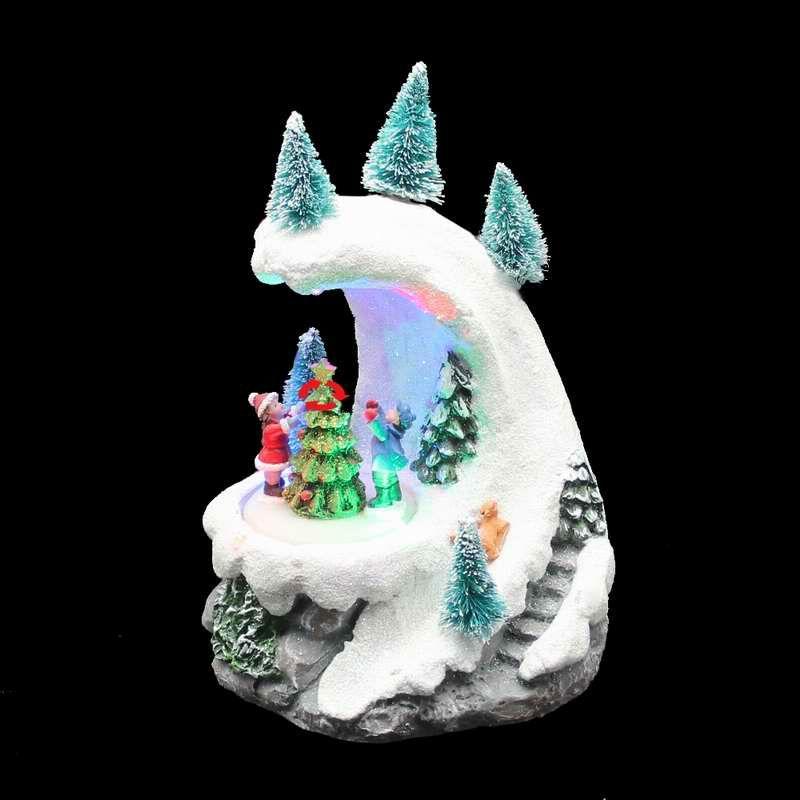 Christmas Decor Gift Snow Mountain Rotating Figurines and Christmast Tree with Led light, Music