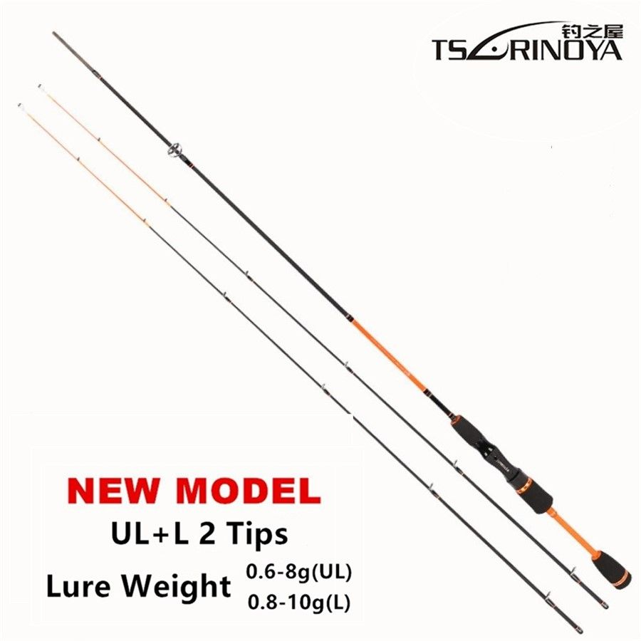 TSURINOYA Lure Weight 0.6-8g Ultra Light Night Fishing Spinning Rod 1.8m UL+L 2 Luminous Tips Carbon Carp Spinning Fishing Rods