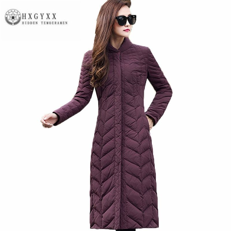 S- 4xl size Thick Slim Women Down jacket New Pure color slender Winter Outerwear Fashion Leisure Female Long Wadded jacketZX0148