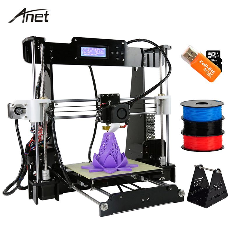 Anet A8 Reprap i3 impressora 3D Printer Large Printing Size  Electronic Imprimante 3D Printers DIY Kit With Filament SD Card