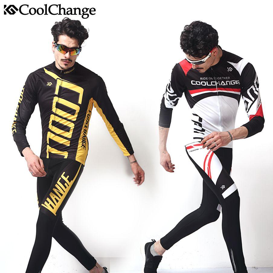 2017 CoolChange Fahrradbekleidung Set Langarm Radtrikot Set Berg Männer Sportkleidung Fahrradkleidung Männer Trocknen Schnell