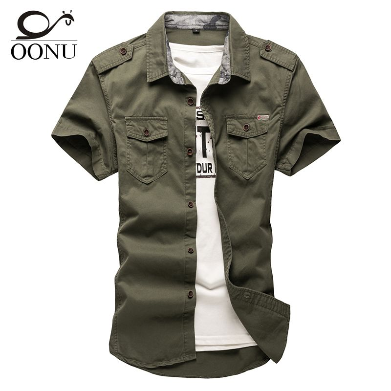 OONU Cotton Short sleeve shirts for Mens Short-sleeve Plus Size Military Uniform Loose Shirt Casual Cotton-Padded Army Shirts