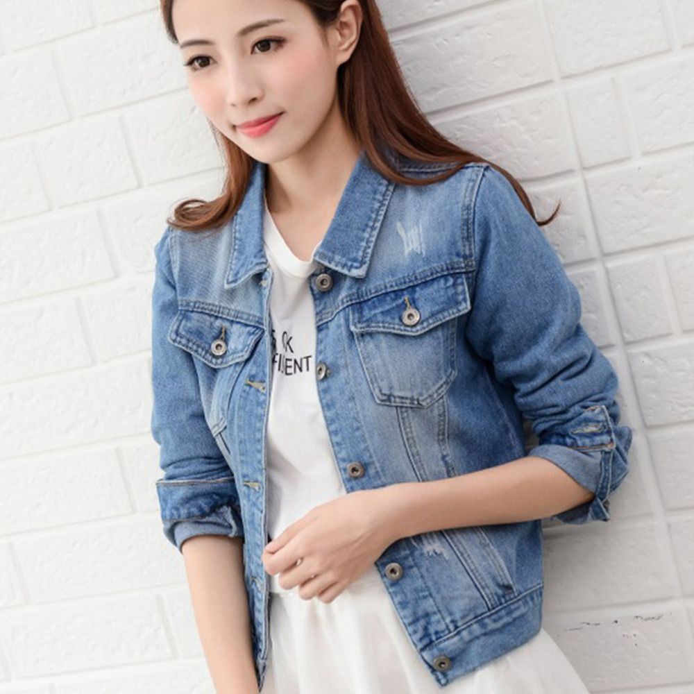 Cropped Jean Jacket Light Blue Bomber Short Denim Jakcets Jaqueta Casual Ripped Jeans Coat Long Sleeve 2XL Outwear Jacket