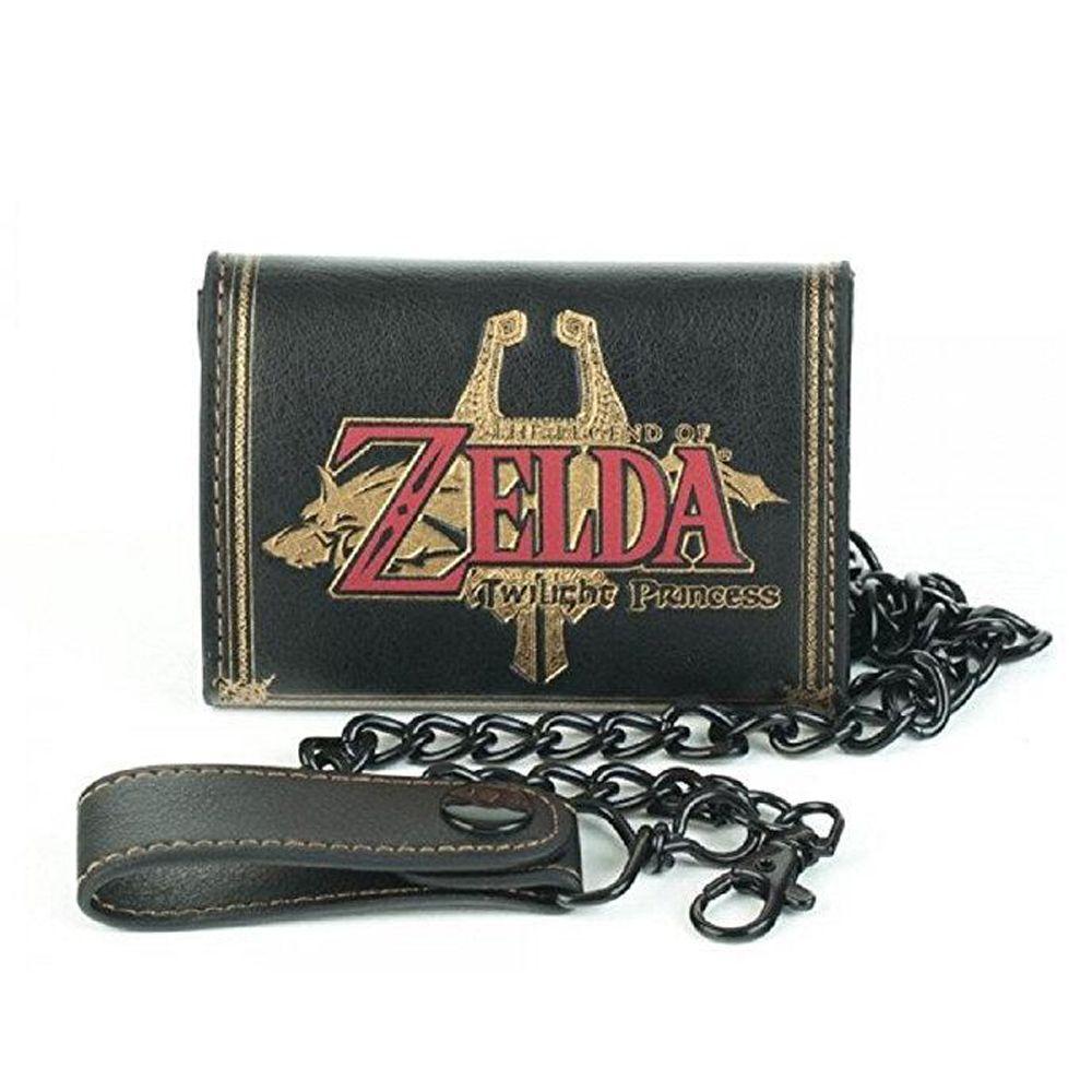 Nintendo Die Legenden von Zelda Logo Schwarz Tri-Falten Brieftasche Mit Kette Kurze Brieftasche PU qualität Marke Brieftasche Film mann geschenk Brieftasche