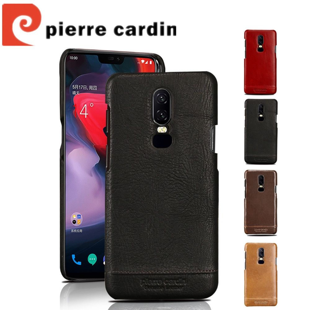 Pierre Cardin Genuine Leather Luxury Ultrathin Cell Phones Case For One Plus 6 Case Oneplus 6 Case Hard Back Cover Free Shipping