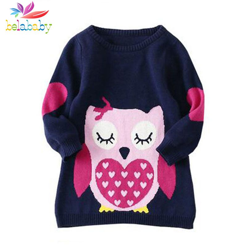 Belababy Brands Baby Girls Sweaters Winter 2017 New Girl Long Sleeve Knitted Clothes Kids <font><b>Autumn</b></font> Cartoon Owl Sweater For Girls