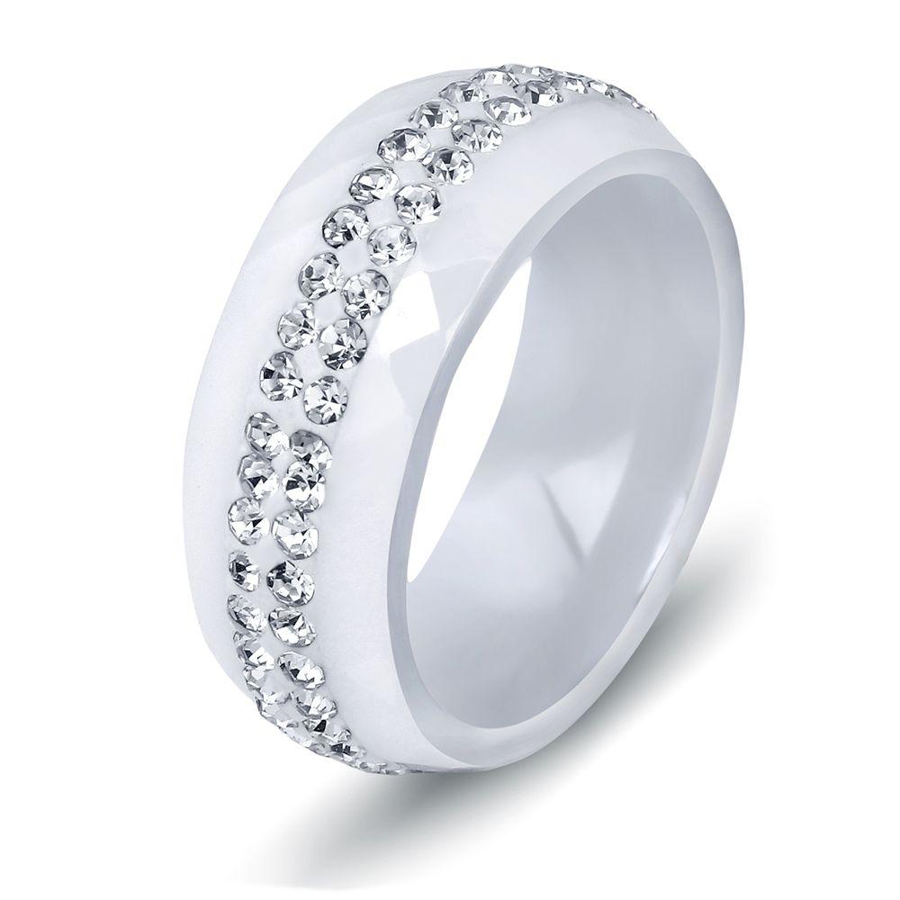 Haute Qualité Noir Et Blanc Simple Style Comly Cristal Bagues En Céramique pour les Femmes