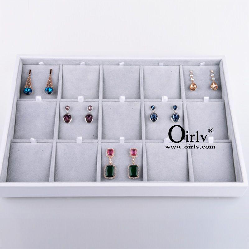 FANXI luxe argent gris bijoux affichage plateau boucle d'oreille anneau pendentif collier affichage porte-plateau vitrine de bijoux boîte organisateur