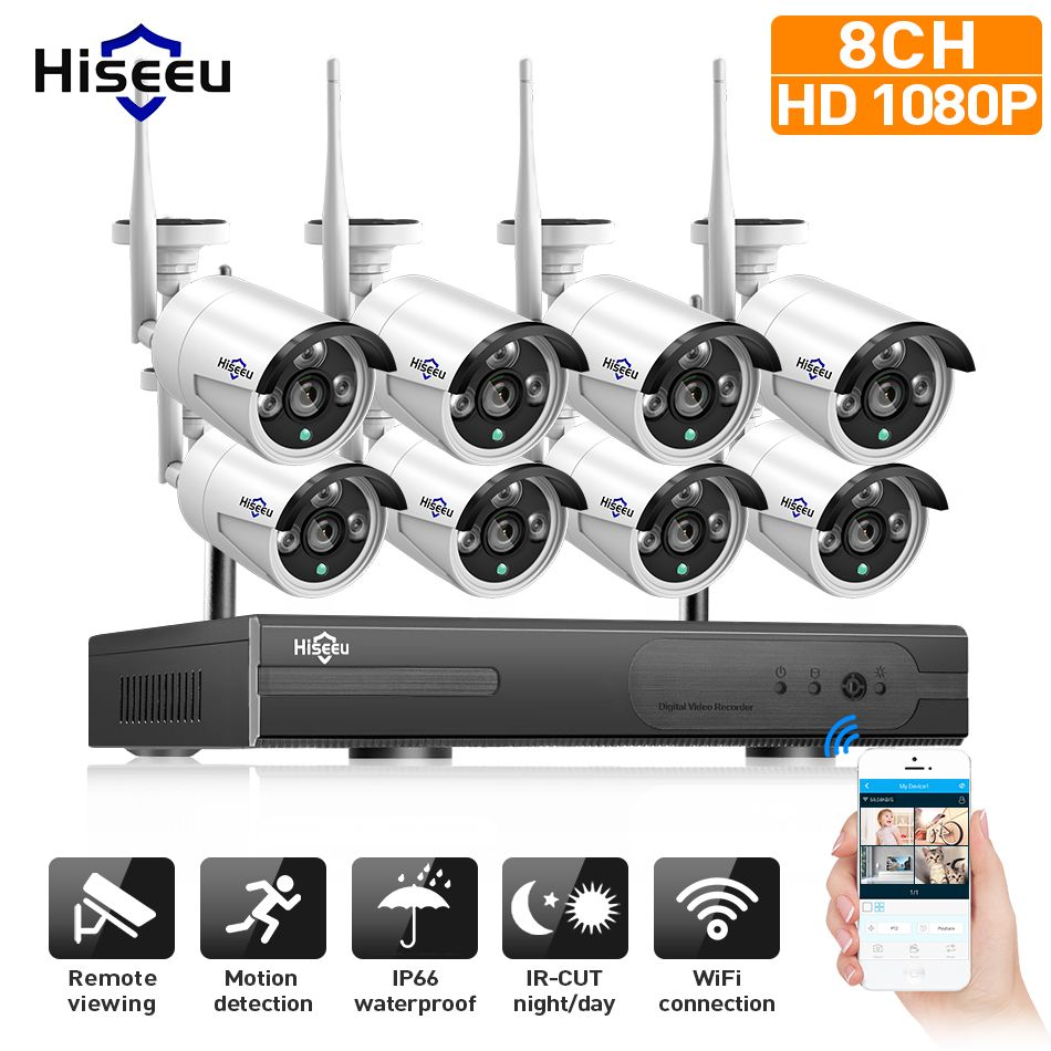 1080 P système de vidéosurveillance sans fil 2 M 8ch HD wi-fi NVR kit extérieur IR Vision nocturne IP Wifi caméra système de sécurité Surveillance Hiseeu