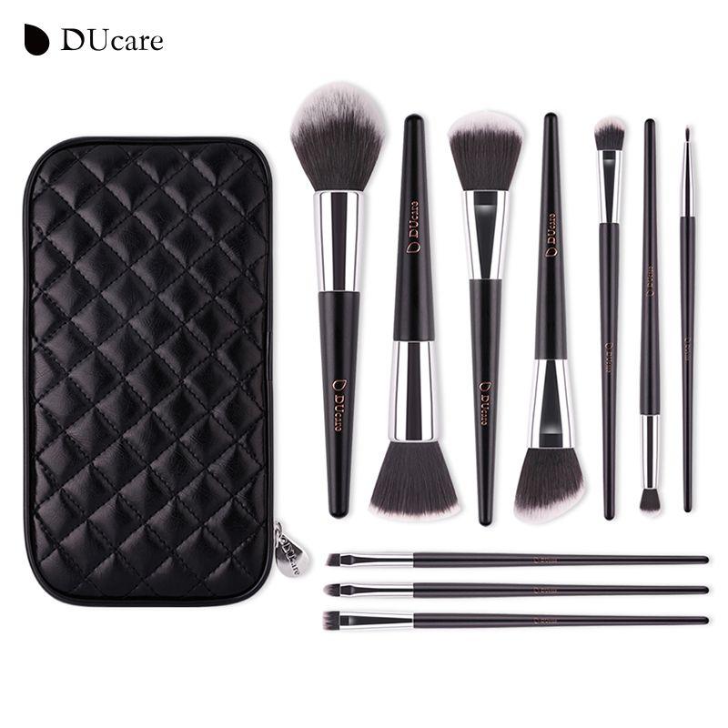 DUcare maquillage brosses 10 pcs haute qualité brush set professionnel marque make up brosses avec sac noir beauté pinceaux essentiels