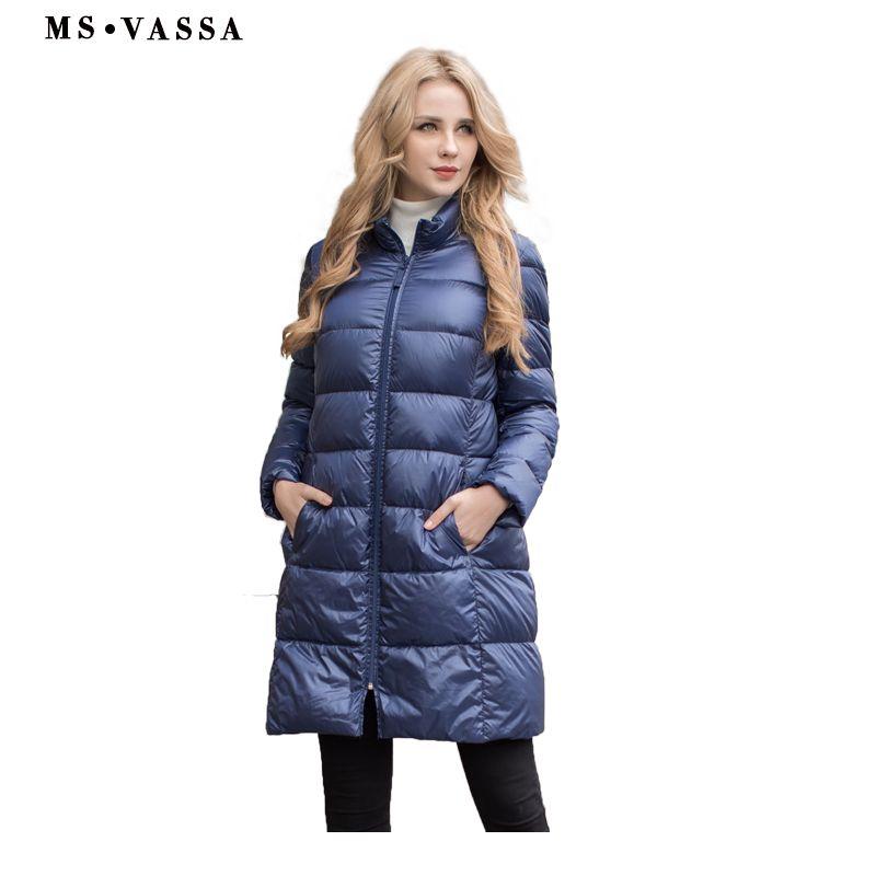 MS Vassa дамы пальто Новинка 2017 года осень-зима Для женщин Белый гусиный пуховая куртка воротник большие размеры 5XL 6XL Длинная верхняя одежда
