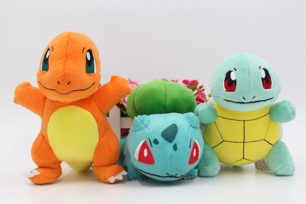2016 New Authentic Bulbasaur Squirtle Charmander Plush Doll Toy Set of 3 Gift