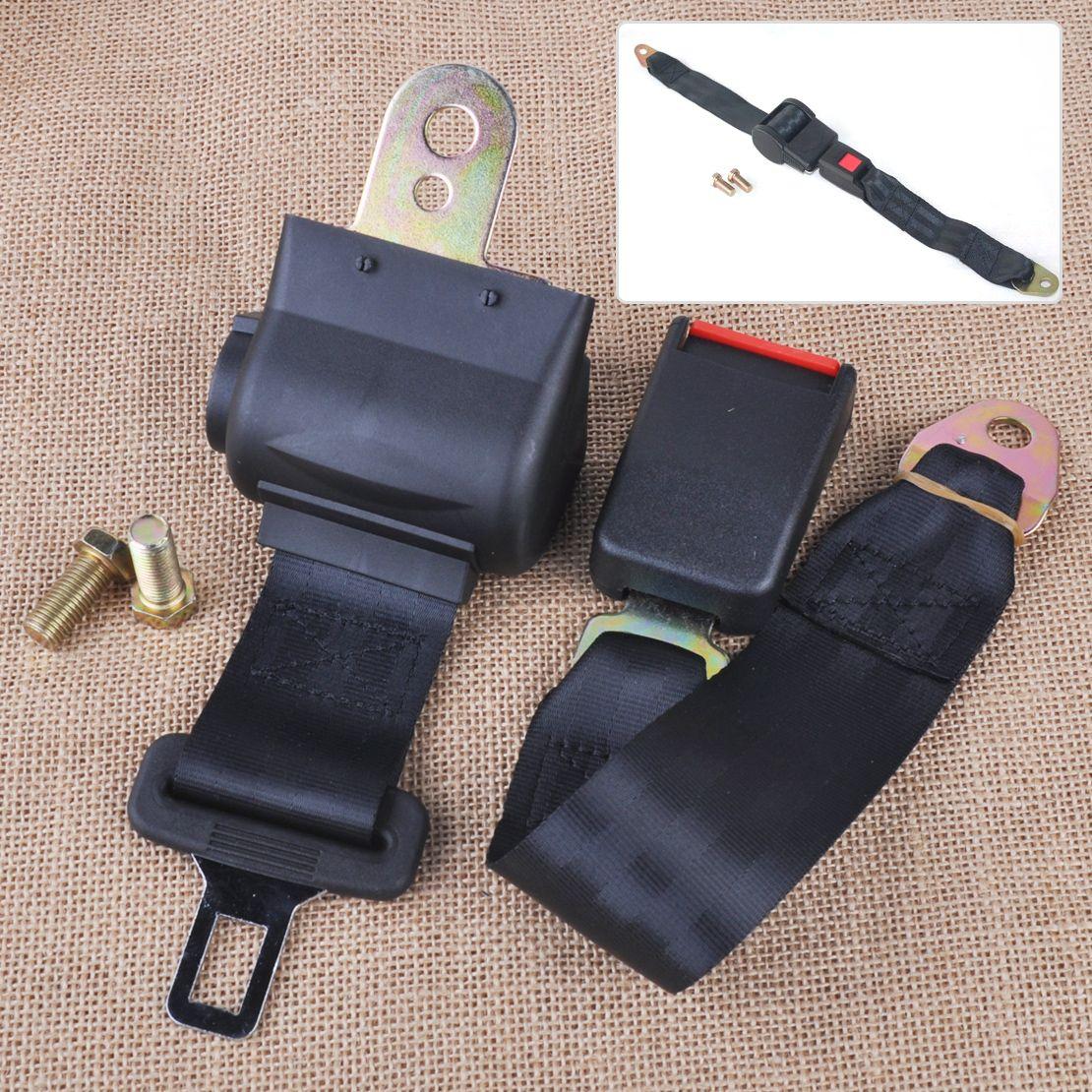 CITALL Universal Black 2 Point RetractableCar Auto Seat Safety Lap Belt Strap Buckle Adjustable Security Belt