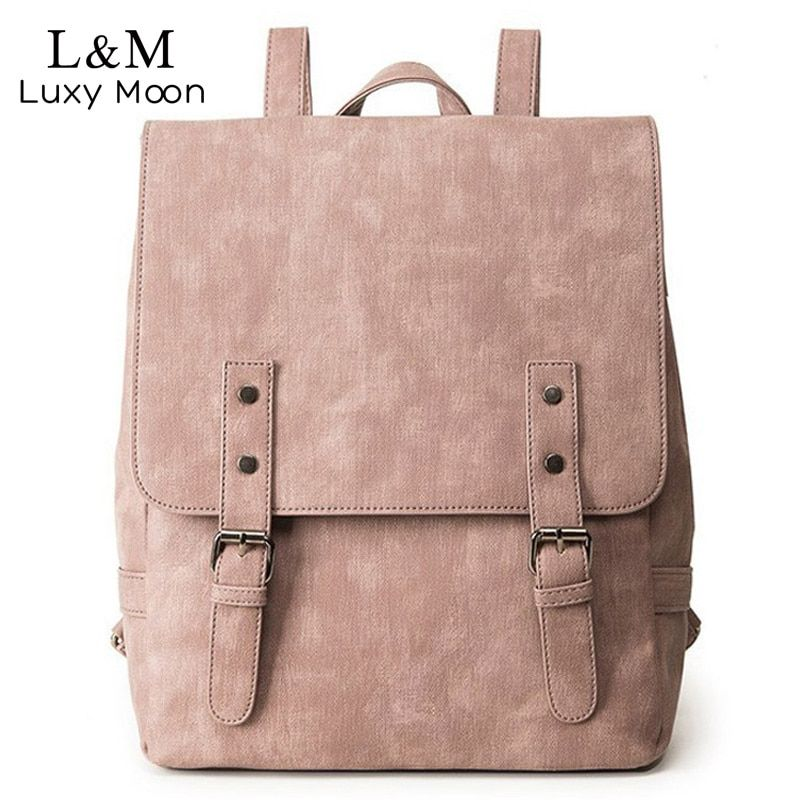 Women Backpack Large School Bags For Teenage Girls Shoulder Bag Vintage PU Leather Backpacks Black Casual Solid Rucksack XA83H