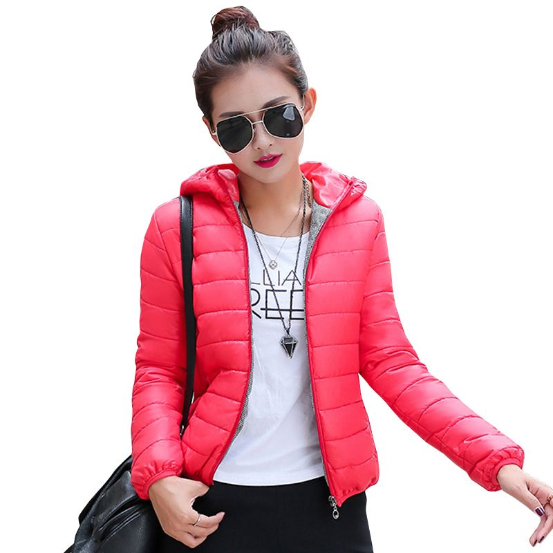 2018 new winter jacket women autumn hooded Coat Female Spring Jacket Women Padded cotton Parkas Casual Thin light Basic Jackets