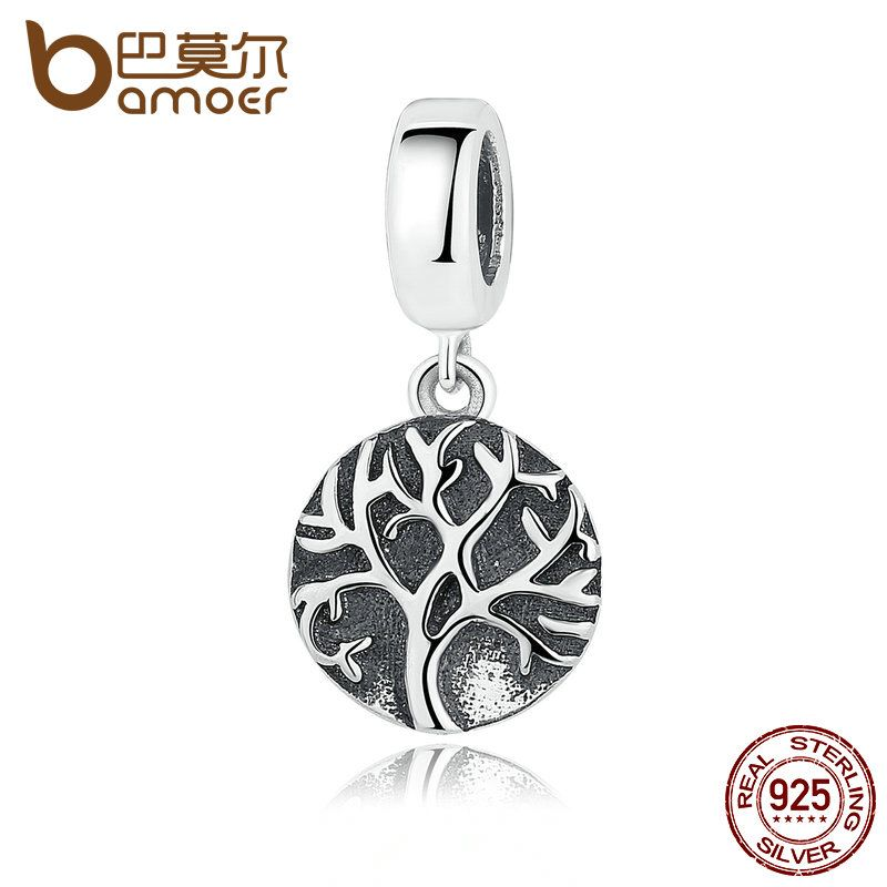 BAMOER 925 Sterling Silver High Quality Round Shaped Pendant Charms fit Women DIY Bracelets Fine Jewelry SCC037