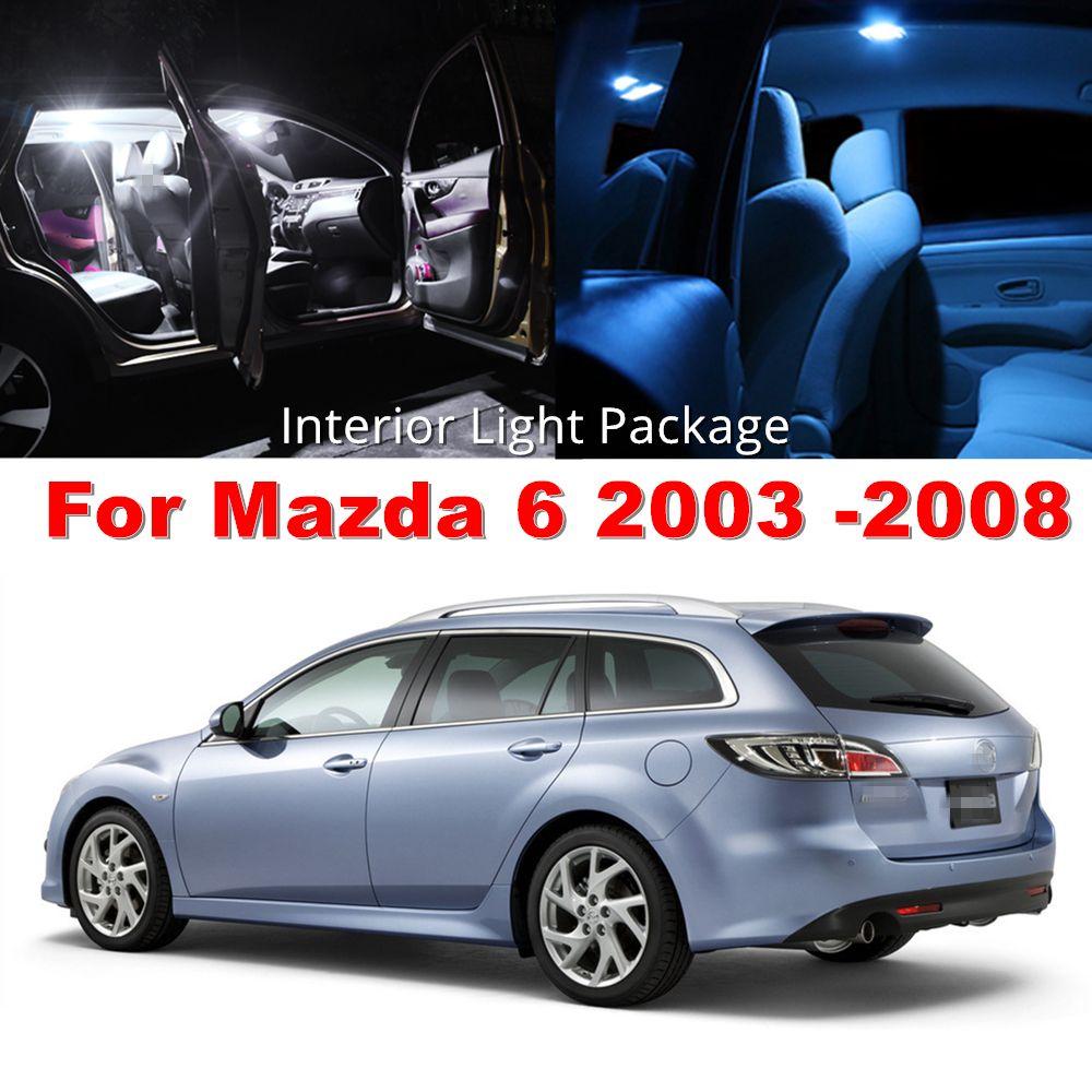 WLJH 9 pc 2835 SMD Led De Voiture Intérieur Lumière Ampoule D'éclairage Paquet pour Mazda 6 2003 2004 2005 2006 2007 2008 Cristal Bleu Pur Blanc