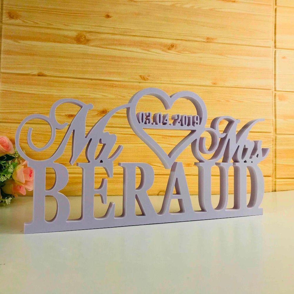 Signe de Table de mariage personnalisé signe de mariage blanc personnalisé avec nom de famille décor de Table de mariage Mr et mme signe fournitures