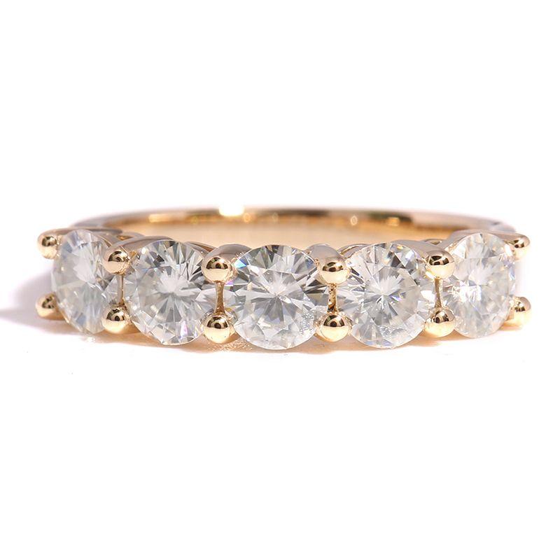 1.25 Carat CTW  Transgems Lab Grown Moissanite Diamond Solitaire Wedding Band Solid 14K Yellow Gold Half Eternity Band DCC012