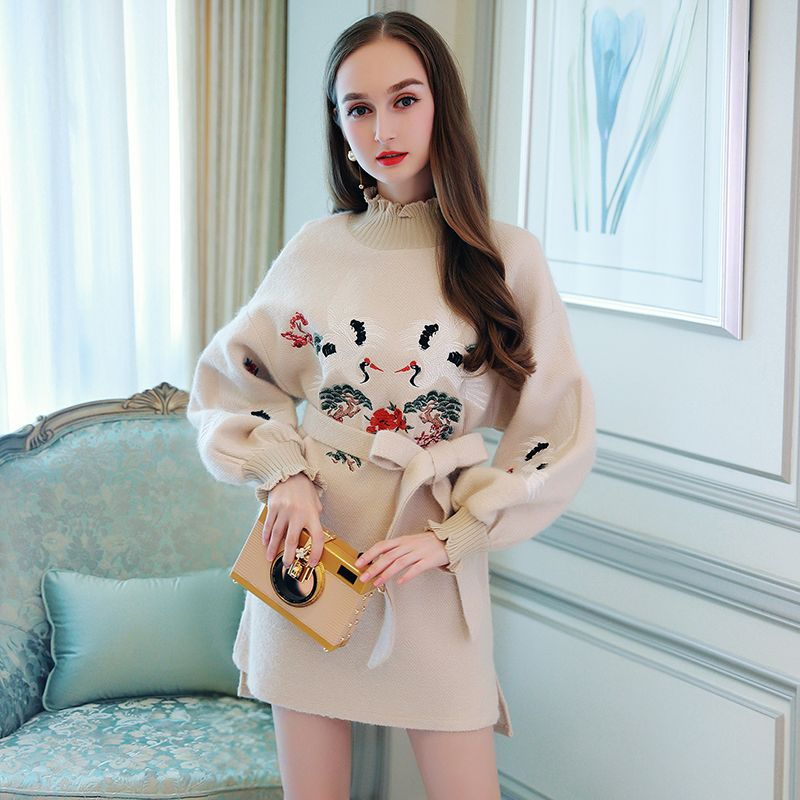 Miuco2017 embroidery sweater dress casual ruffle hem lacing knitted one-piece dress female