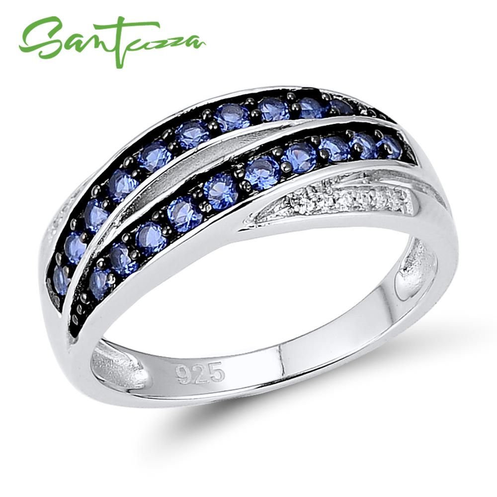 SANTUZZA bague en argent pour femme 925 argent Sterling Chic bague femme bleu Nano cubique zircone bague glamour bijoux fantaisie