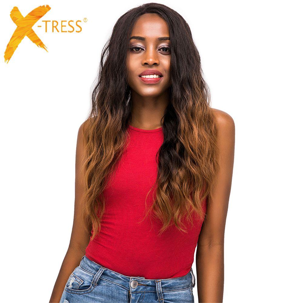 Perruques de cheveux synthétiques avant de dentelle de couleur brune Ombre X-TRESS fibre résistante à la chaleur vague naturelle longue perruque frontale ondulée partie libre