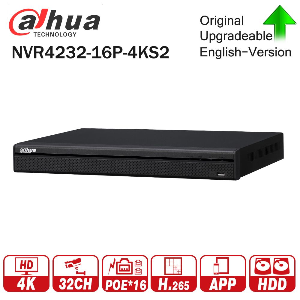 Dahua NVR4232-16P-4KS2 4K 32CH NVR With 16CH POE Video Recorder 2 SATA Interface Support H.265 for IP Camera System