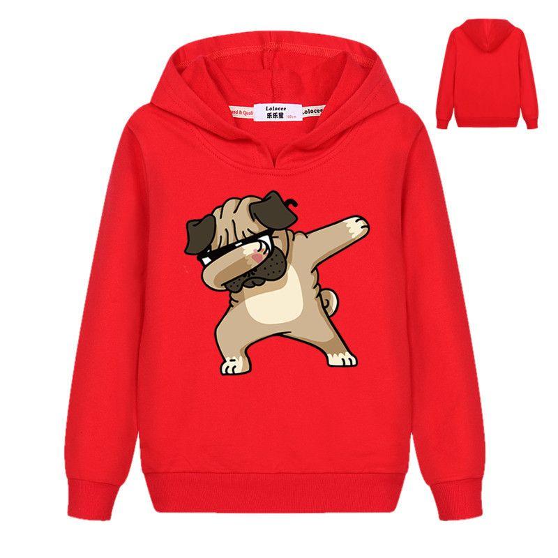 Animaux de tamponnage sweat-shirt Emoji chien imprimé enfants hauts pour garçons filles pull profiter carlins Hoodies Hip Hop manteau de base 2019 printemps
