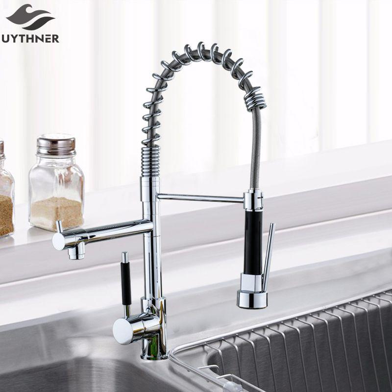 Uythner Wholesale And Retail Promotion Kitchen Faucet Deck Mounted Single Handle Single Hole Dual Spouts ChrSingle vv