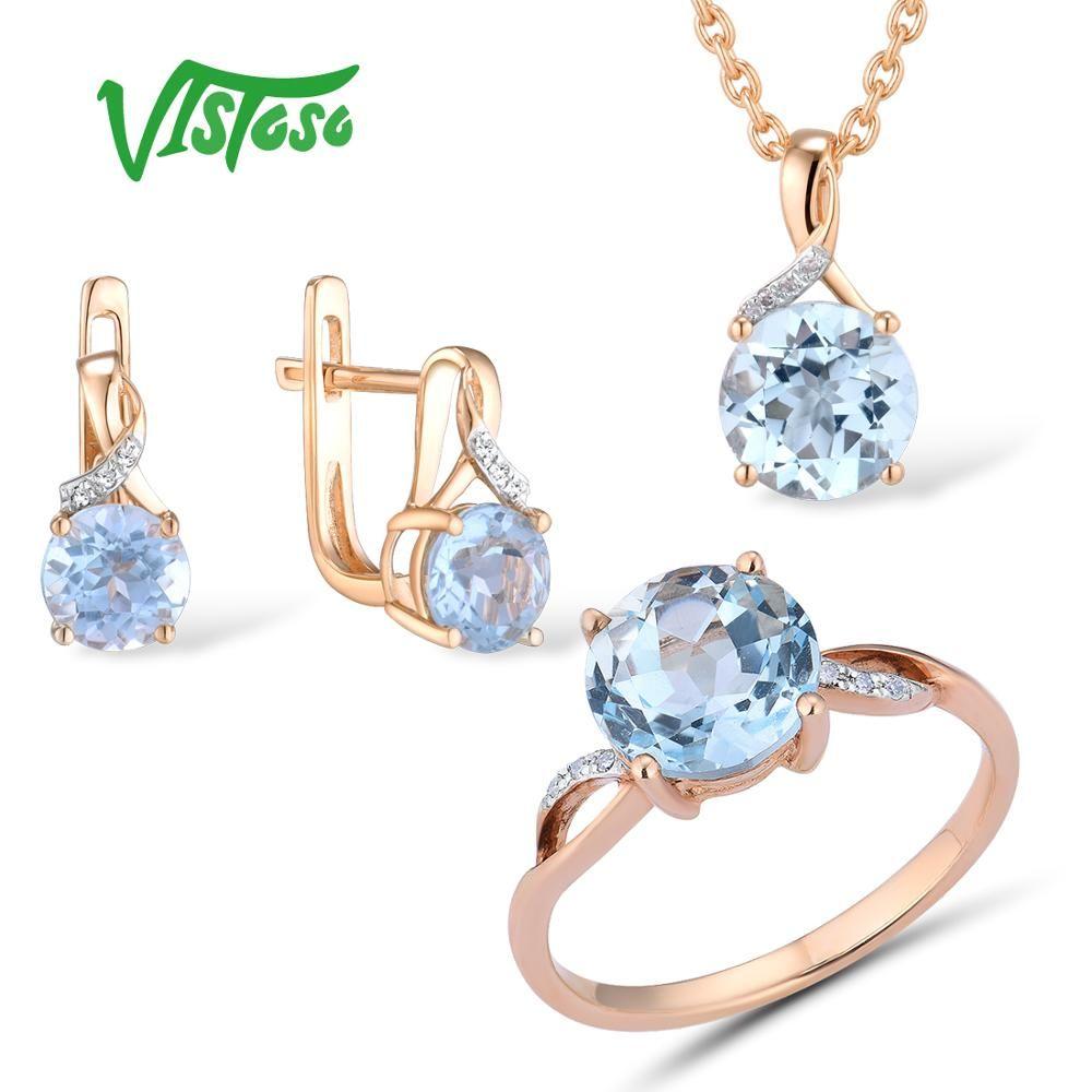 VISTOSO Schmuck Set Für Frau Reine 14K 585 Rose Gold Funkelnden Himmel Blau Topas Diamant Ohrringe Ring Anhänger Set feine Schmuck
