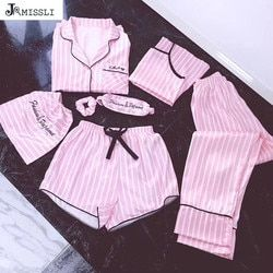 JRMISSLI пижамы для женщин 7 шт. розовые пижамы наборы атласное шелковое женское белье для домашней носки пижамы набор пижамы для женщин