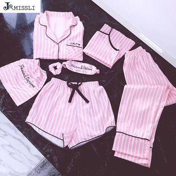 JRMISSLI pyjamas frauen 7 stück Rosa pyjamas sets satin seide dessous homewear nachtwäsche pyjamas set pijamas für frau