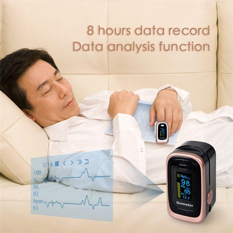 ELERA Finger Pulse Oximeter 4 Parameter SPO2 PR PI ODI4 Oximetro De Dedo 8 Hour Sleep Monitoring Pulsioximetro