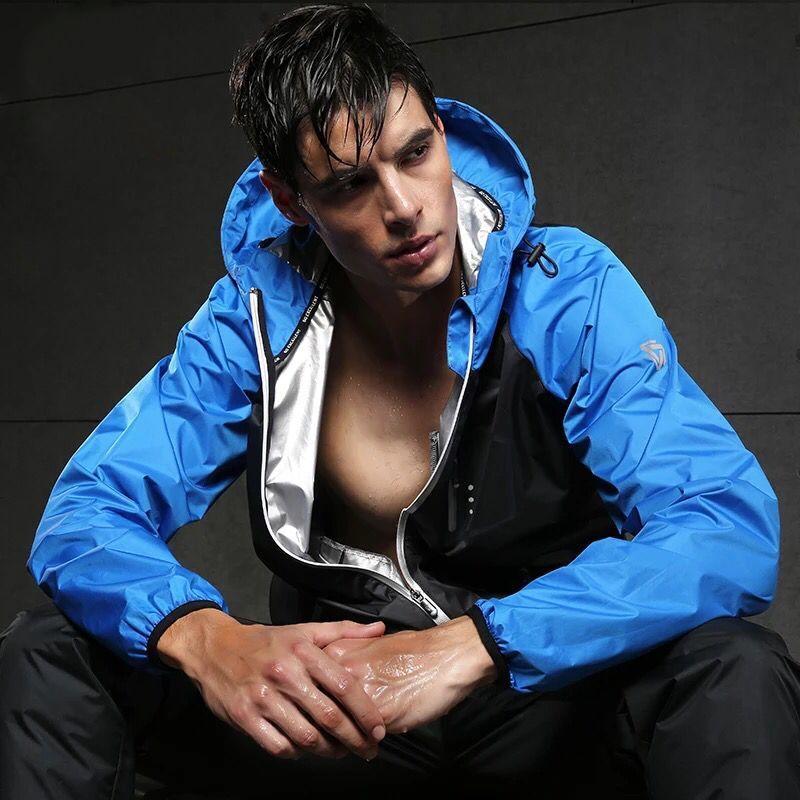 Heißer Schweiß Männer Jacken Langarm Gym Fitness Tops Zipper Mantel Sportbekleidung Fitness Übung Sport Gym Jacke