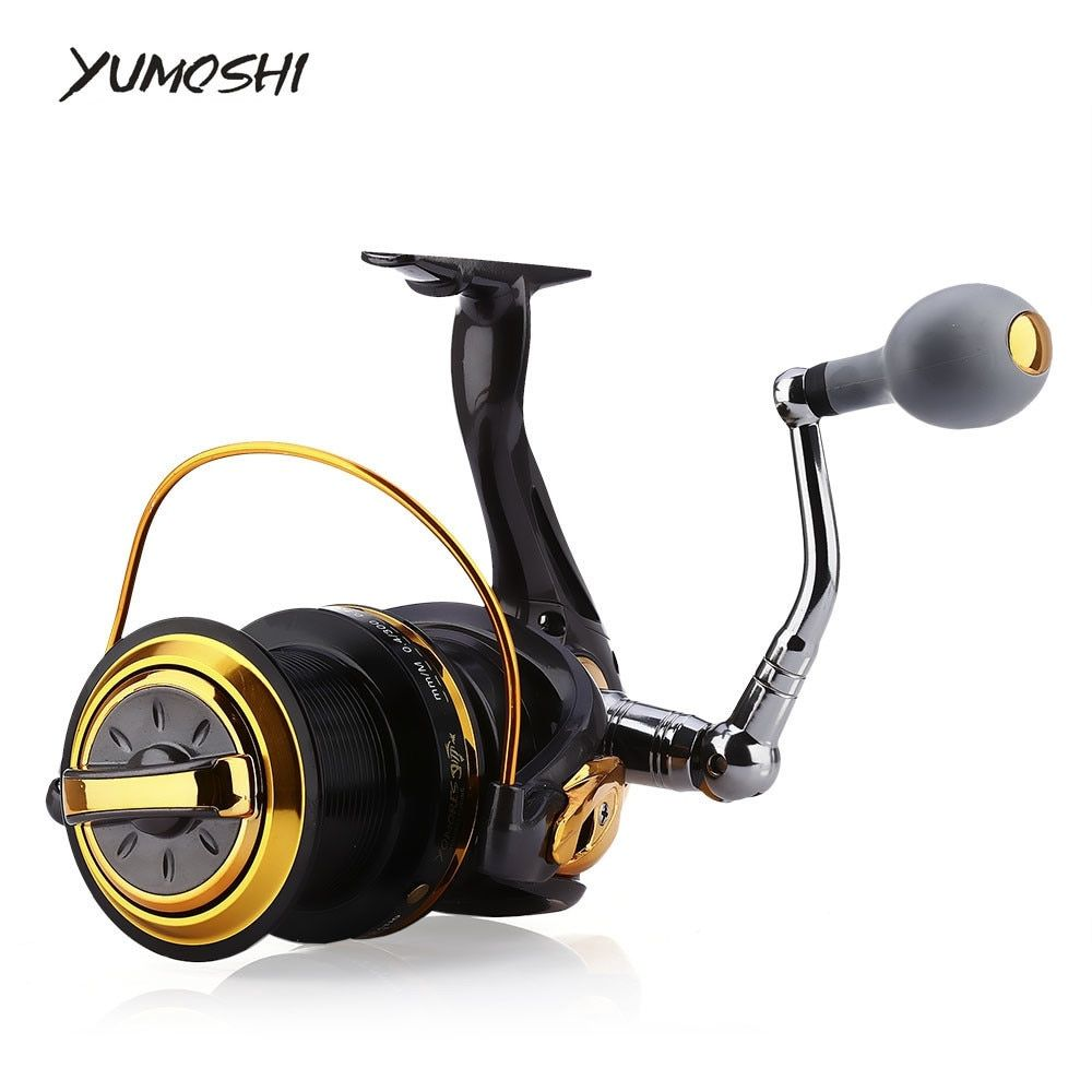 YUMOSHI Fishing Reel 12 + 1 Ball Bearings Aluminum Alloy Spool Coil Wheel Spinning Fishing Reels 8000 / 9000 Series